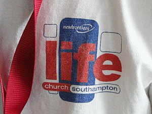 Logo on greeter's t-shirt - Life Church, Southampton